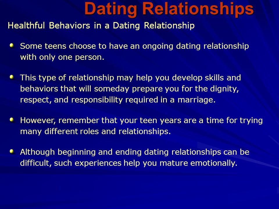 Dating Relationships Healthful Behaviors in a Dating Relationship