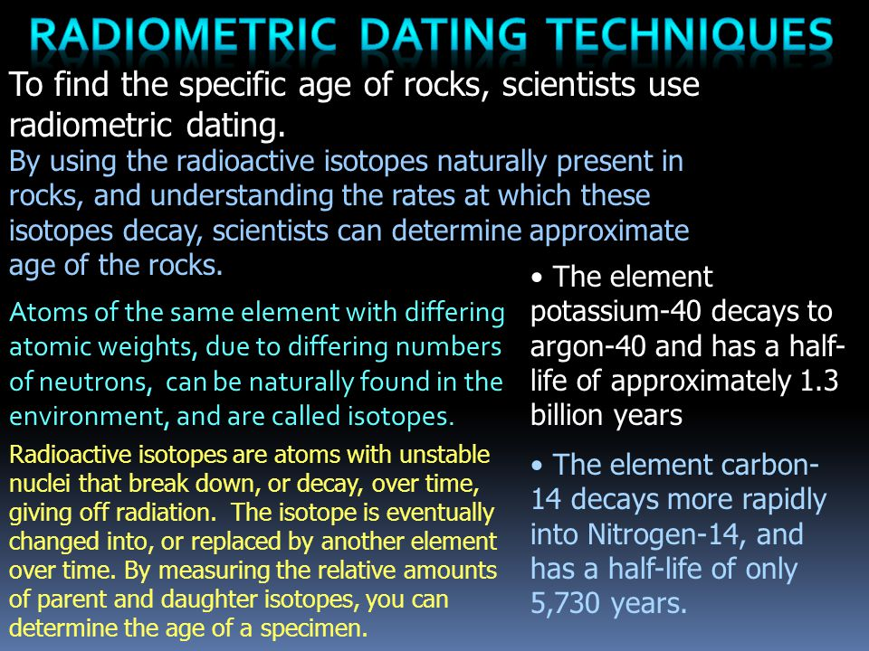 Radiometric Dating Techniques