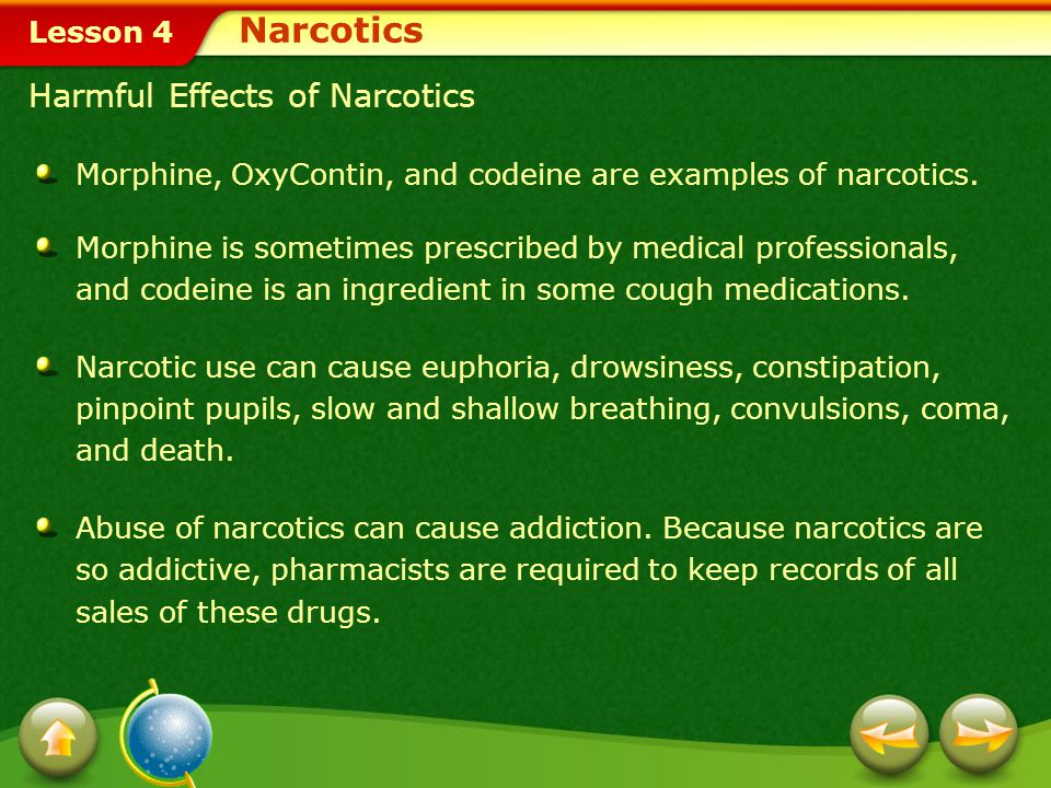 Narcotics Harmful Effects of Narcotics