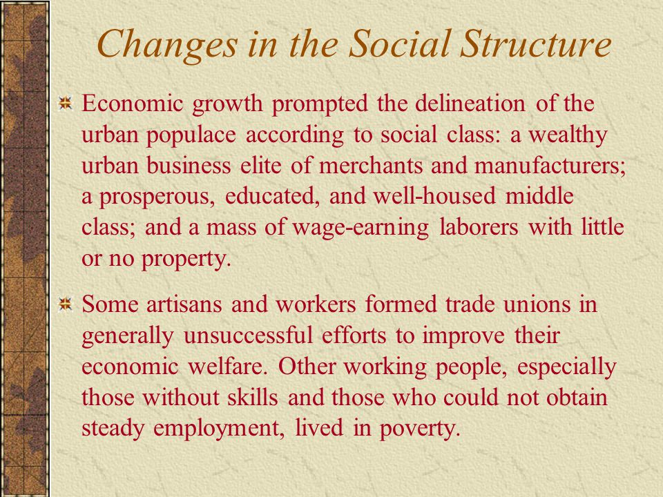 Changes in the Social Structure