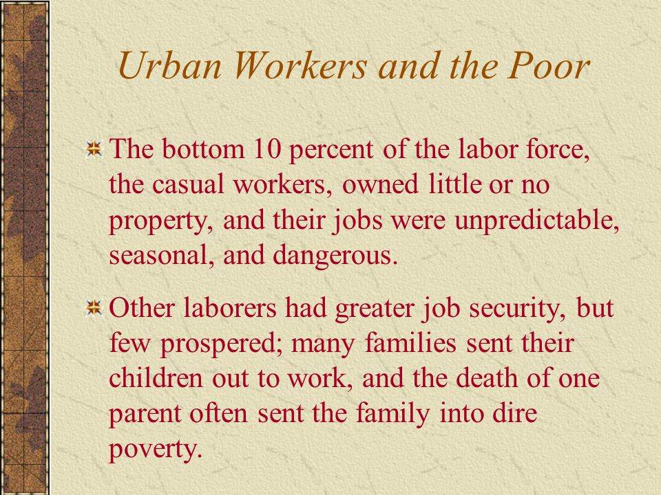 Urban Workers and the Poor