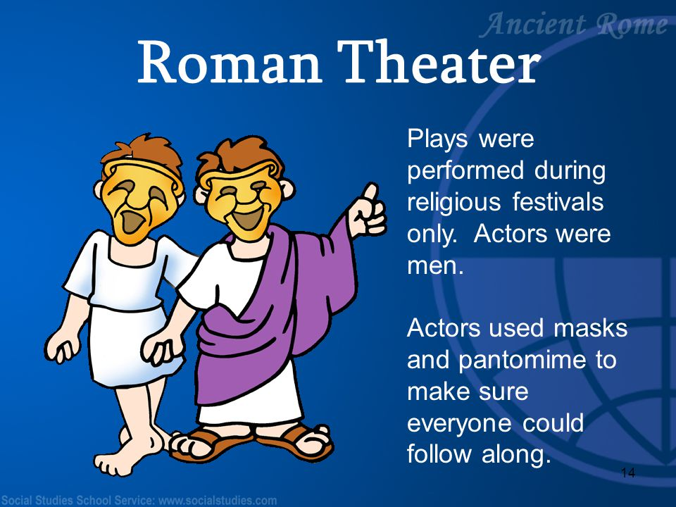 Roman Theater Plays were performed during religious festivals only. Actors were men.