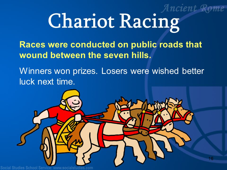 Chariot Racing Races were conducted on public roads that wound between the seven hills.