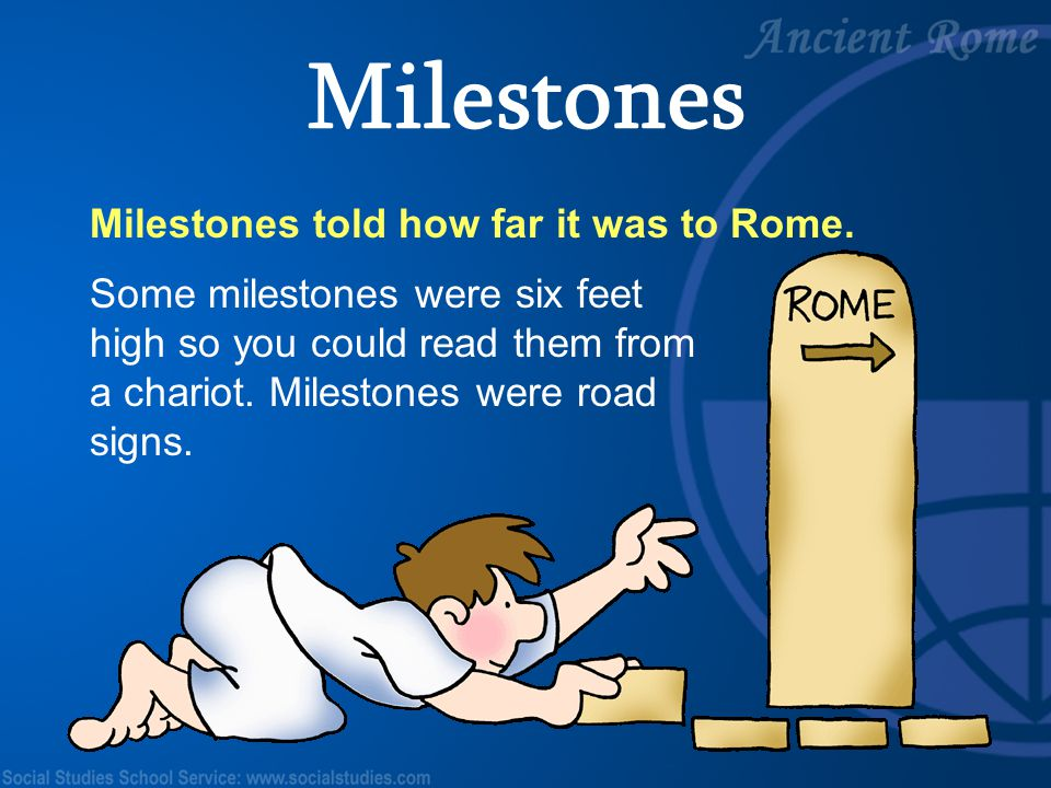Milestones Milestones told how far it was to Rome.