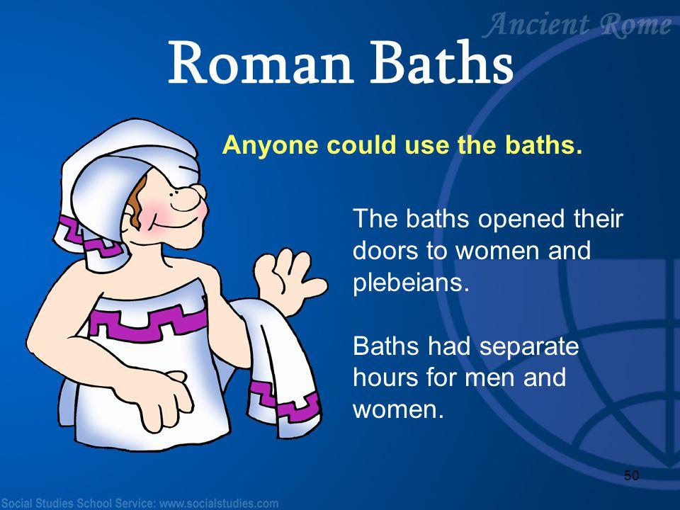 Roman Baths Anyone could use the baths.