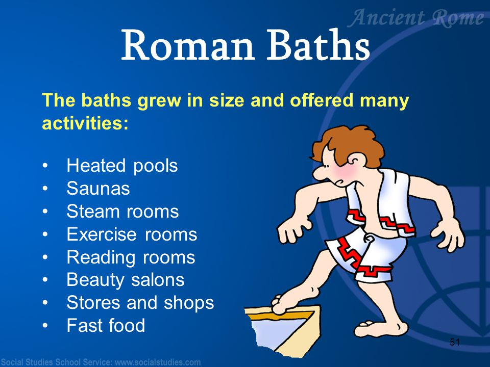 Roman Baths The baths grew in size and offered many activities: