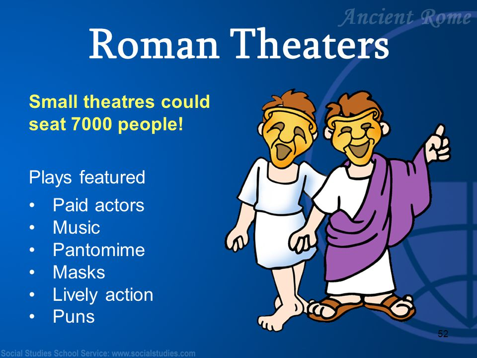 Roman Theaters Small theatres could seat 7000 people! Plays featured