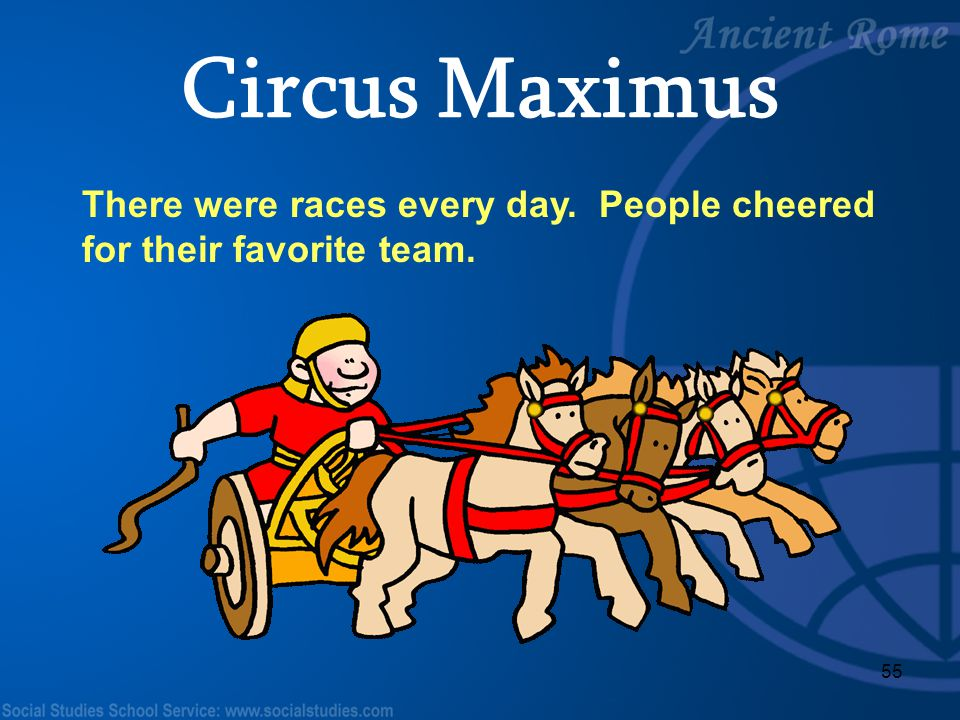 Circus Maximus There were races every day. People cheered for their favorite team. Teacher Notes: