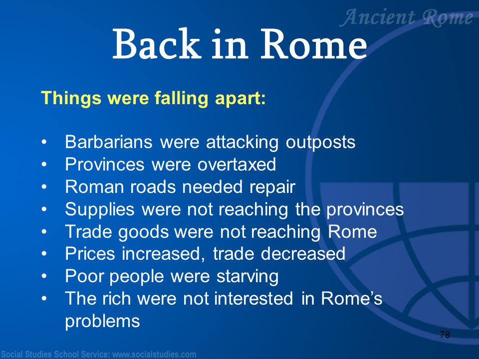 Back in Rome Things were falling apart: