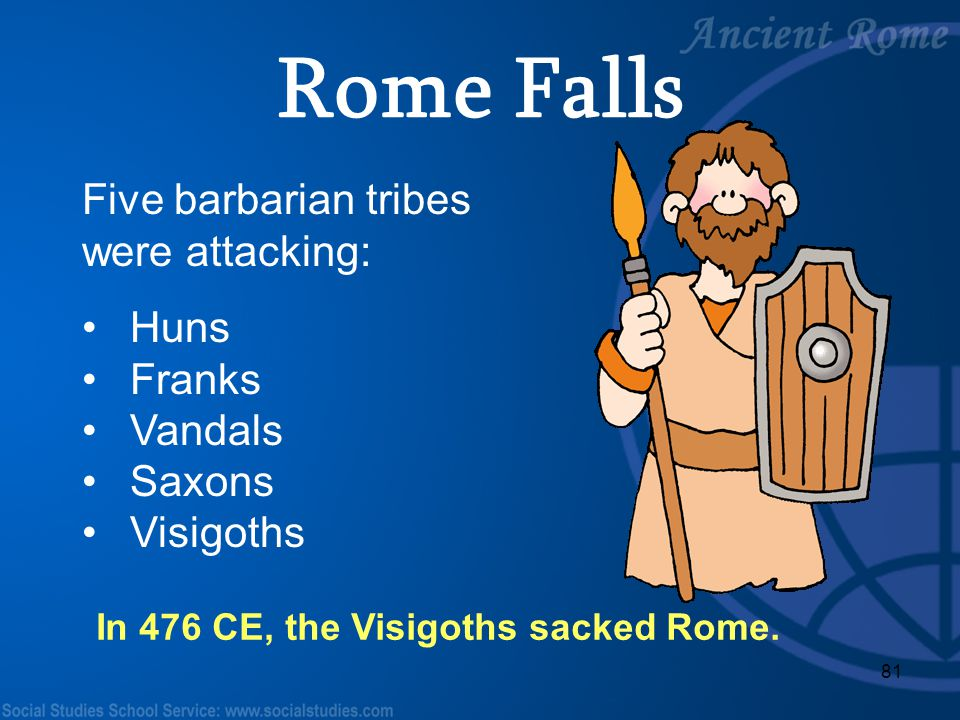 Rome Falls Five barbarian tribes were attacking: Huns Franks Vandals