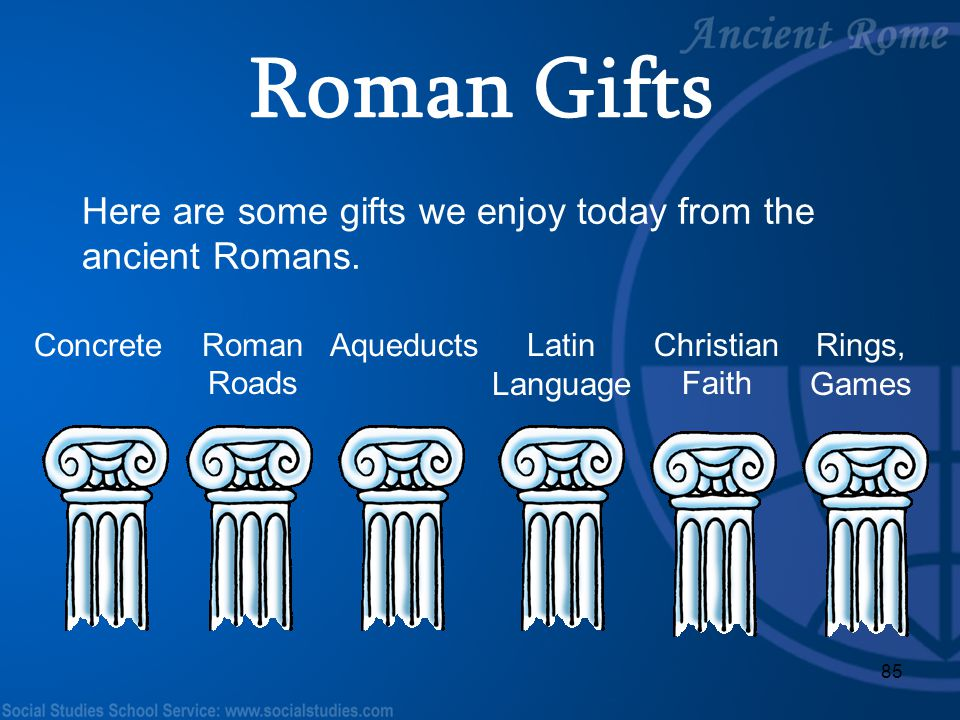 Roman Gifts Here are some gifts we enjoy today from the ancient Romans. Concrete. Roman Roads. Aqueducts.