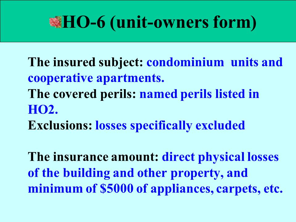 HO-6 (unit-owners form)