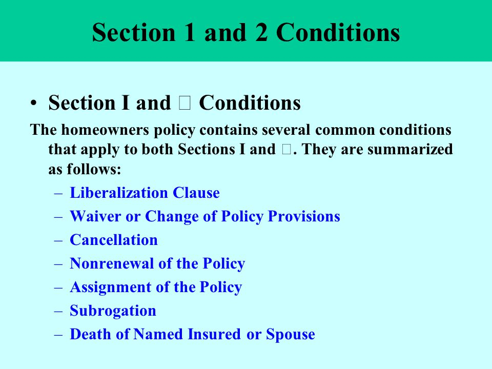 Section 1 and 2 Conditions