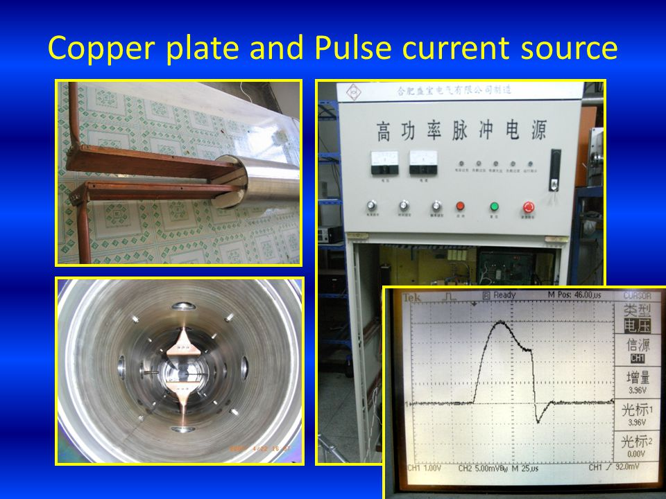 Copper plate and Pulse current source