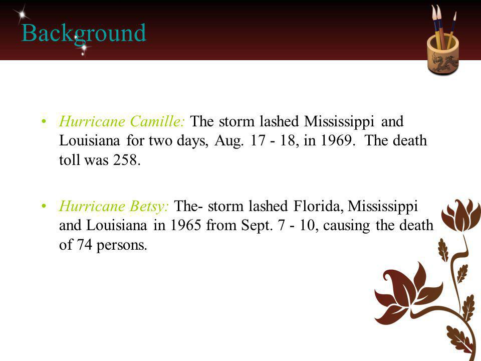 Background Hurricane Camille: The storm lashed Mississippi and Louisiana for two days, Aug. 17 - 18, in 1969. The death toll was 258.