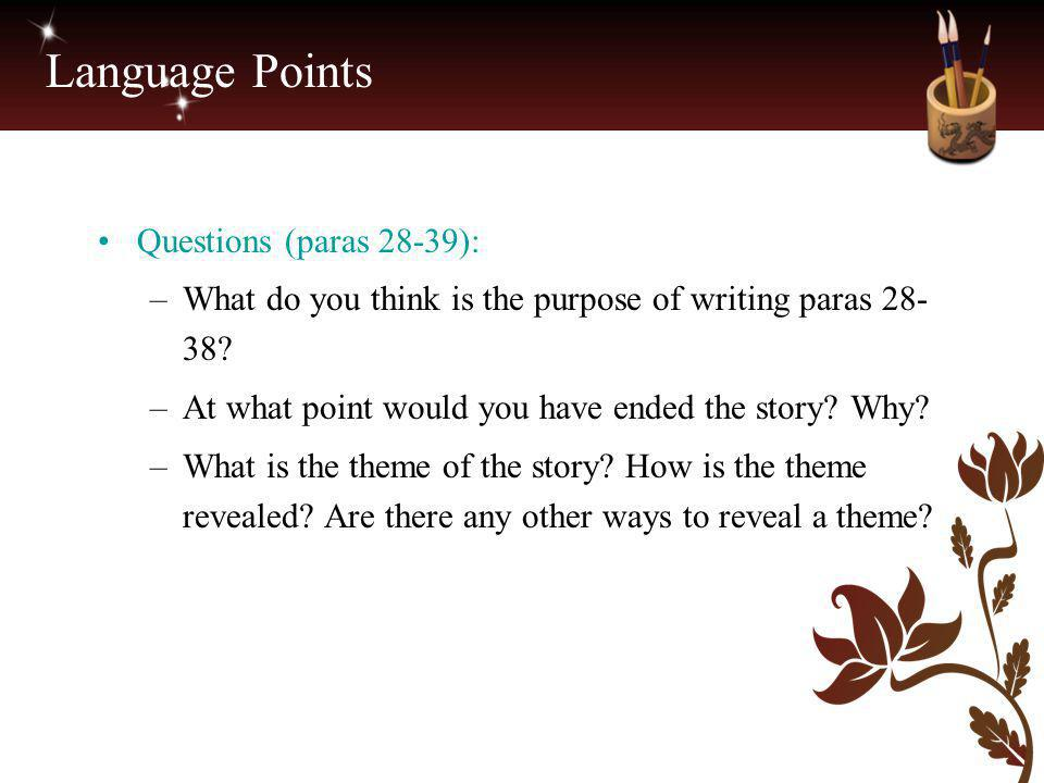 Language Points Questions (paras 28-39):