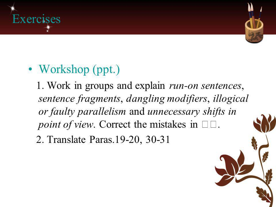 Exercises Workshop (ppt.)