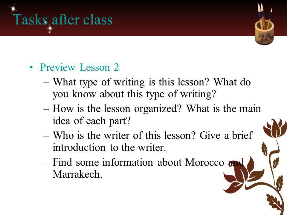 Tasks after class Preview Lesson 2