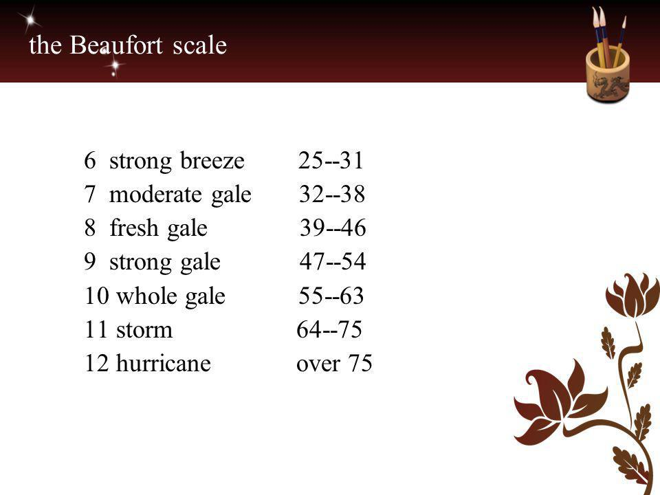 the Beaufort scale 6 strong breeze 25--31 7 moderate gale 32--38