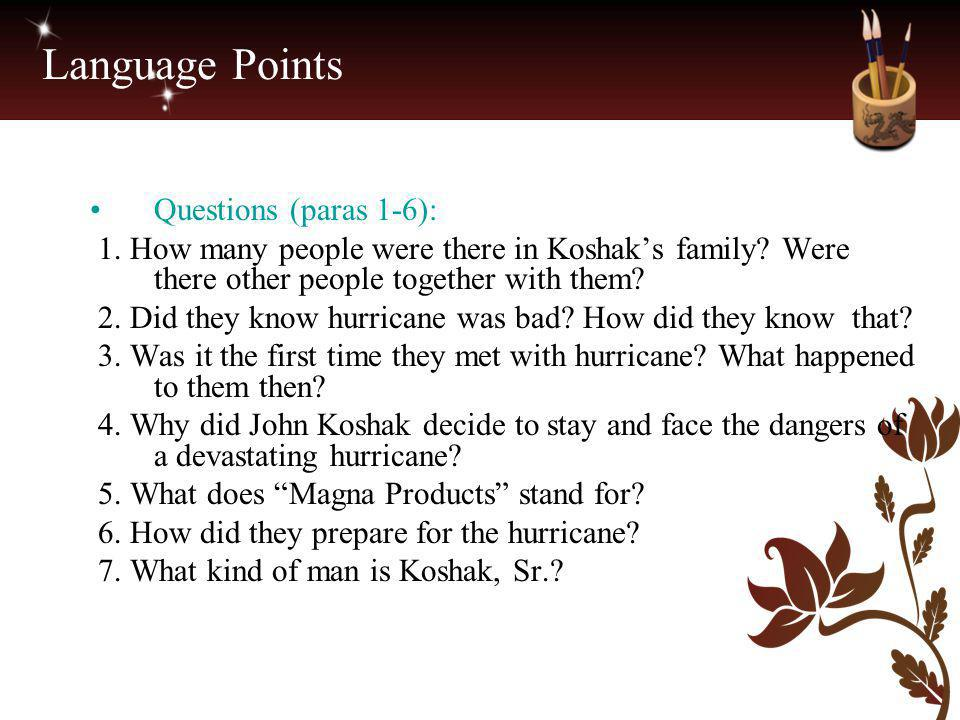 Language Points Questions (paras 1-6):
