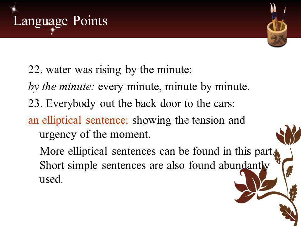 Language Points 22. water was rising by the minute: