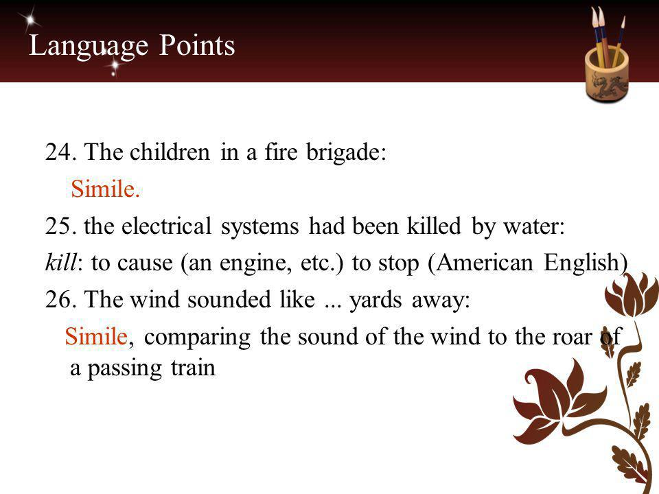 Language Points 24. The children in a fire brigade: Simile.