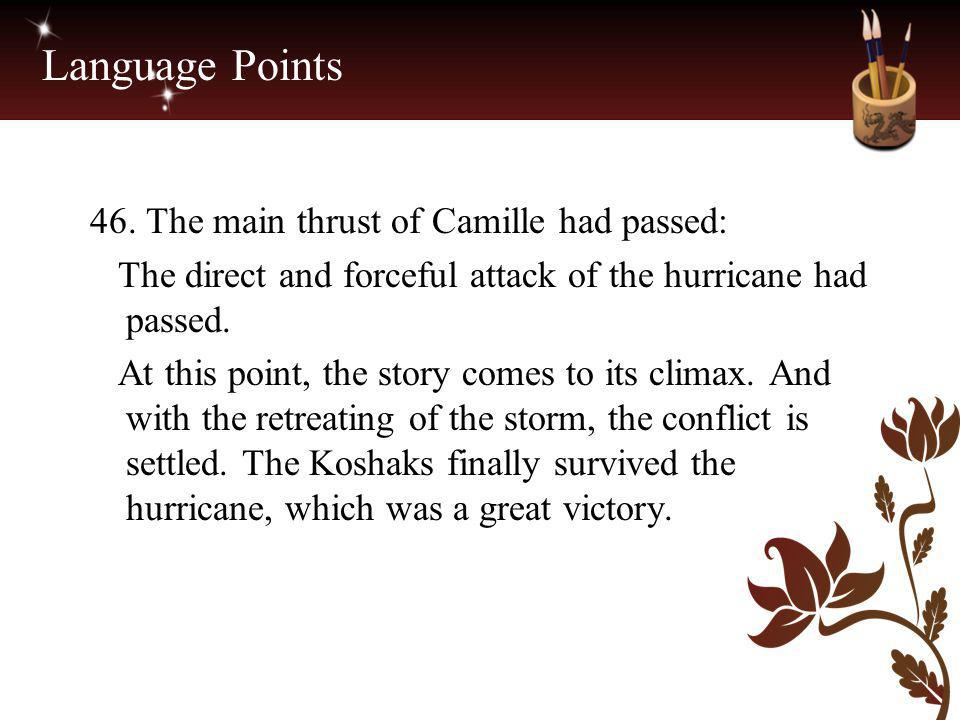 Language Points 46. The main thrust of Camille had passed: