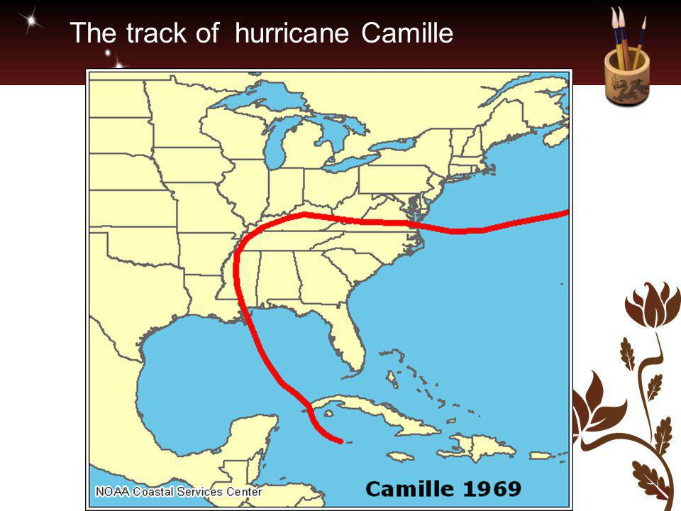 The track of hurricane Camille