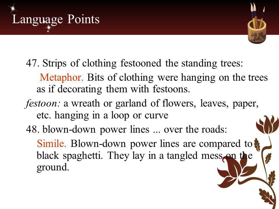 Language Points 47. Strips of clothing festooned the standing trees: