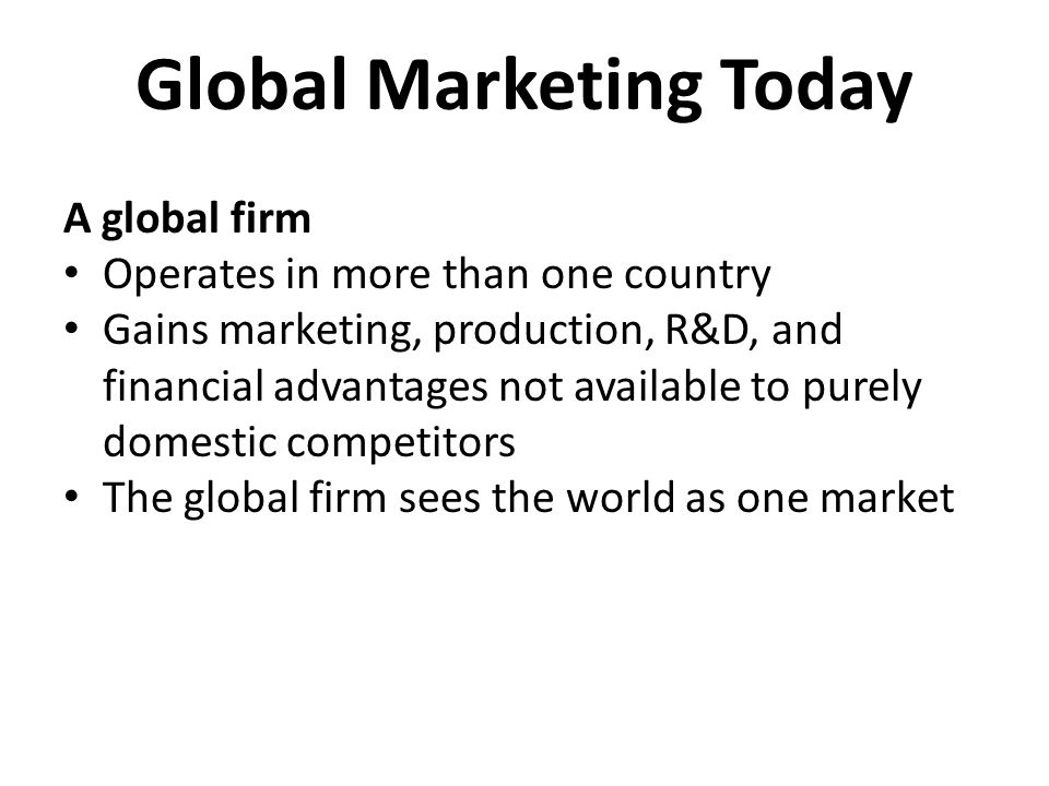 Global Marketing Today