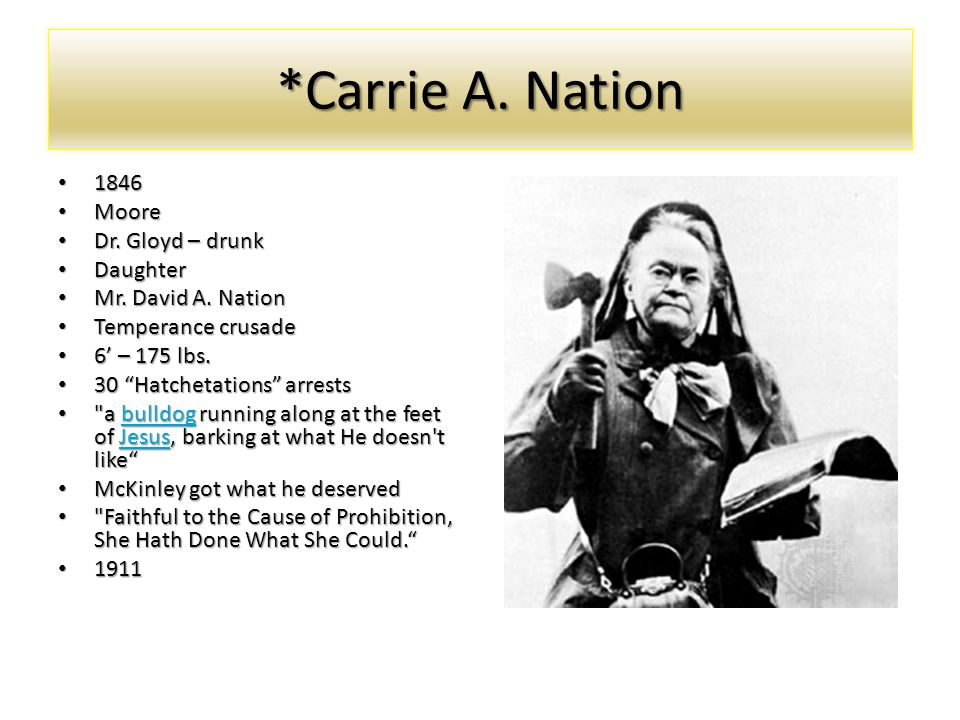 *Carrie A. Nation 1846 Moore Dr. Gloyd – drunk Daughter