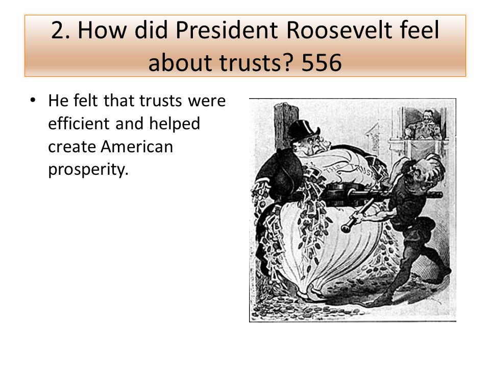 2. How did President Roosevelt feel about trusts 556
