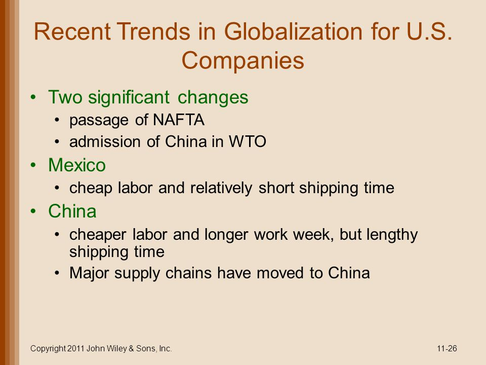 Recent Trends in Globalization for U.S. Companies