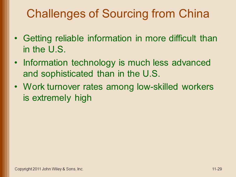 Challenges of Sourcing from China
