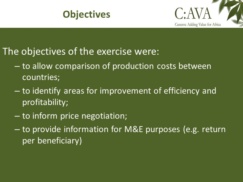 The objectives of the exercise were: