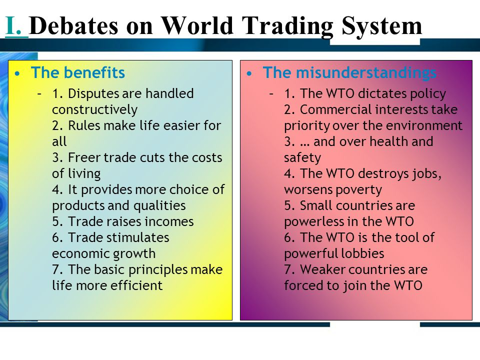 I. Debates on World Trading System