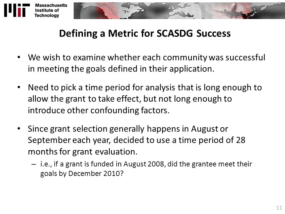 Defining a Metric for SCASDG Success