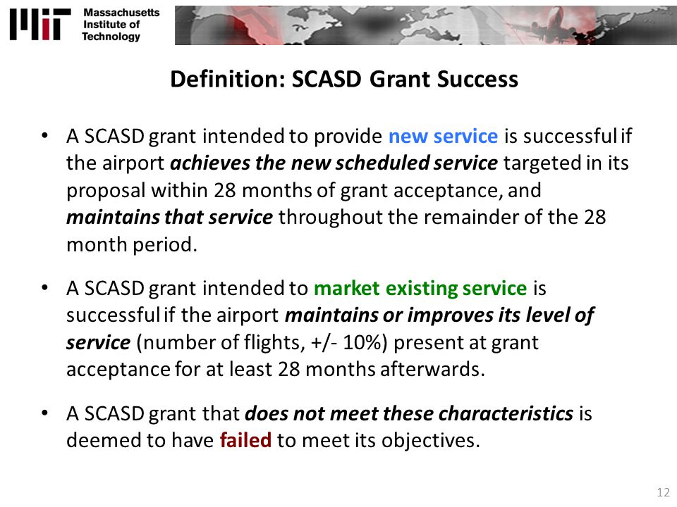 Definition: SCASD Grant Success
