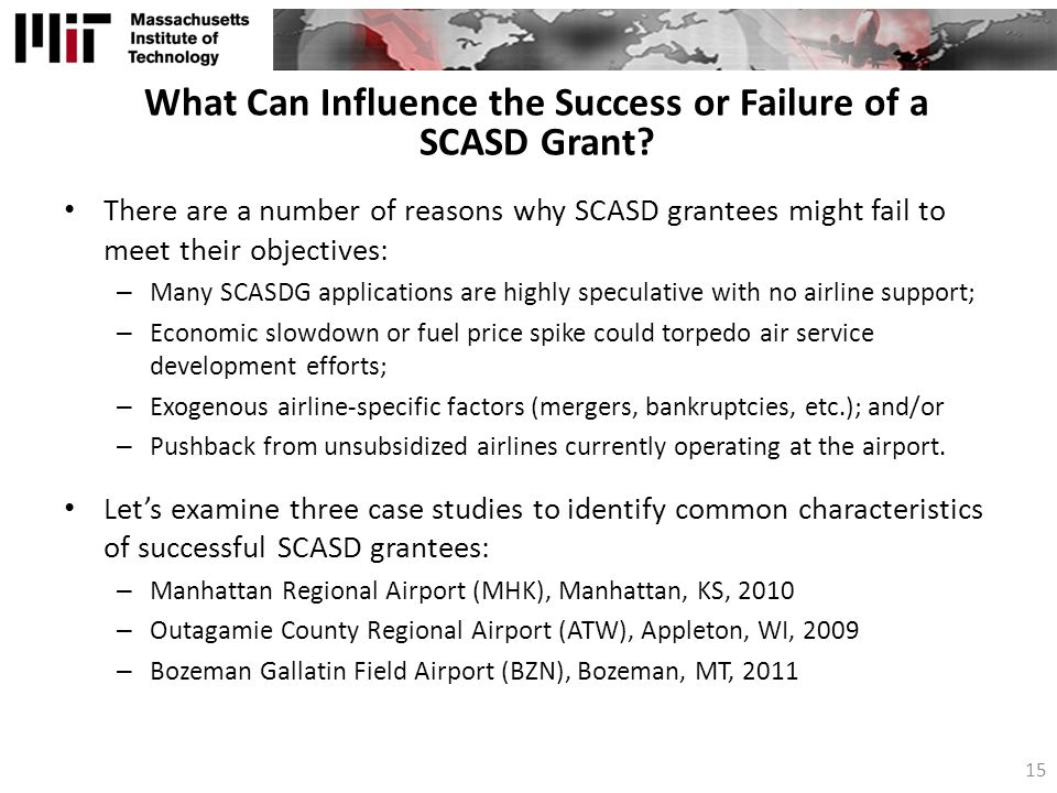 What Can Influence the Success or Failure of a SCASD Grant