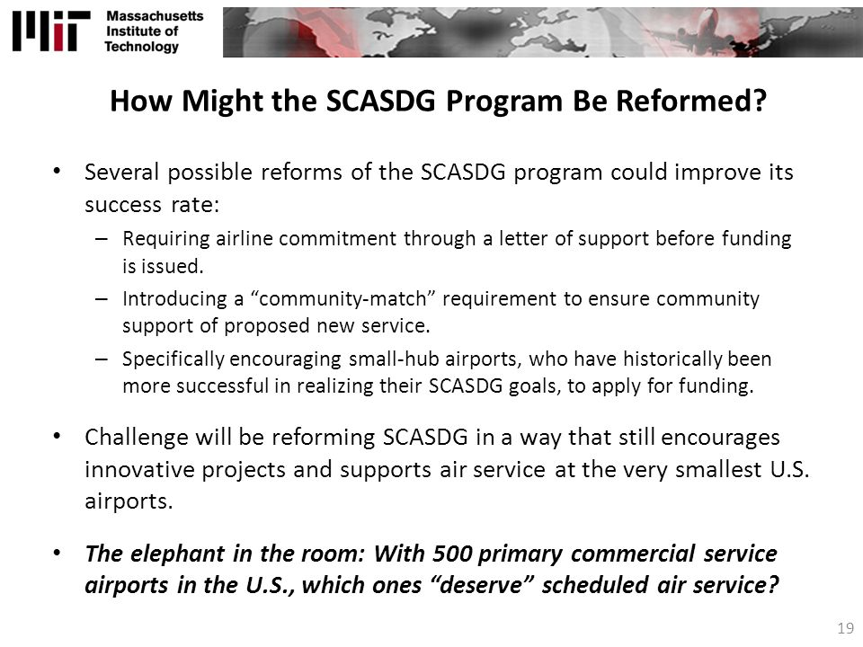 How Might the SCASDG Program Be Reformed