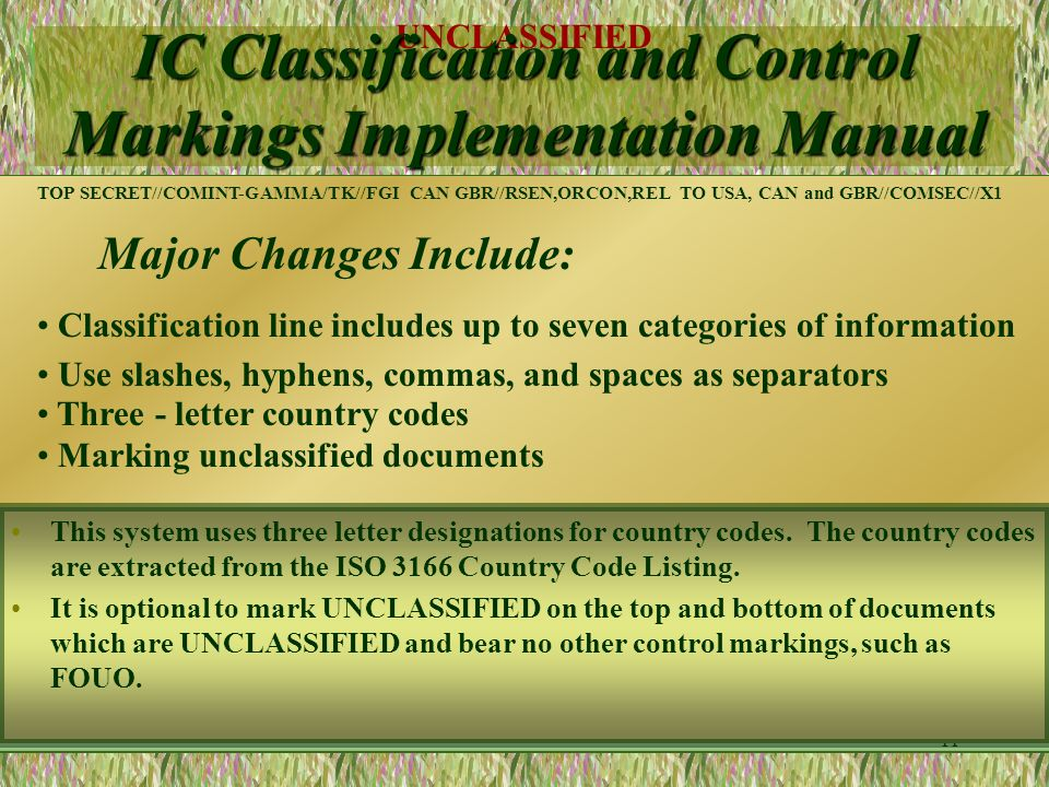IC Classification and Control Markings Implementation Manual