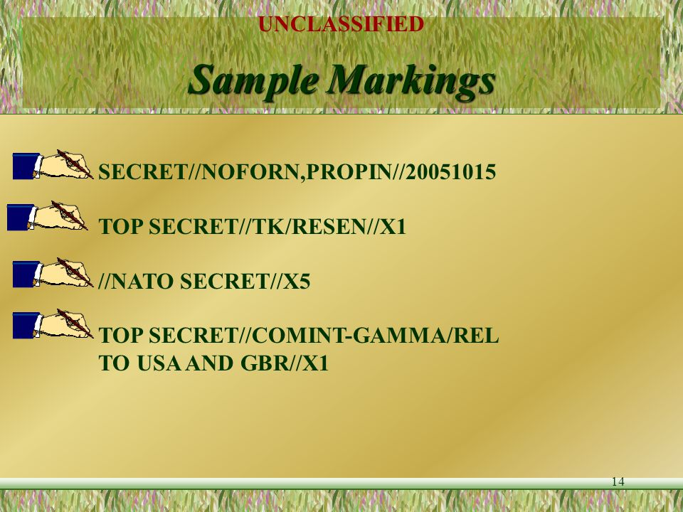 Sample Markings SECRET//NOFORN,PROPIN//20051015