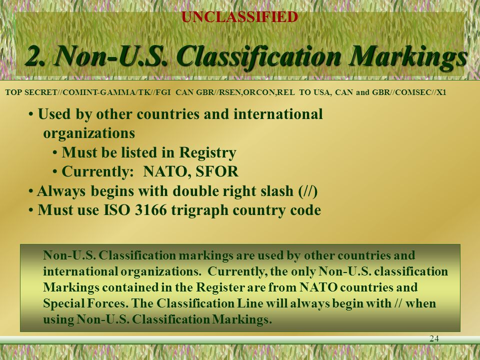 2. Non-U.S. Classification Markings