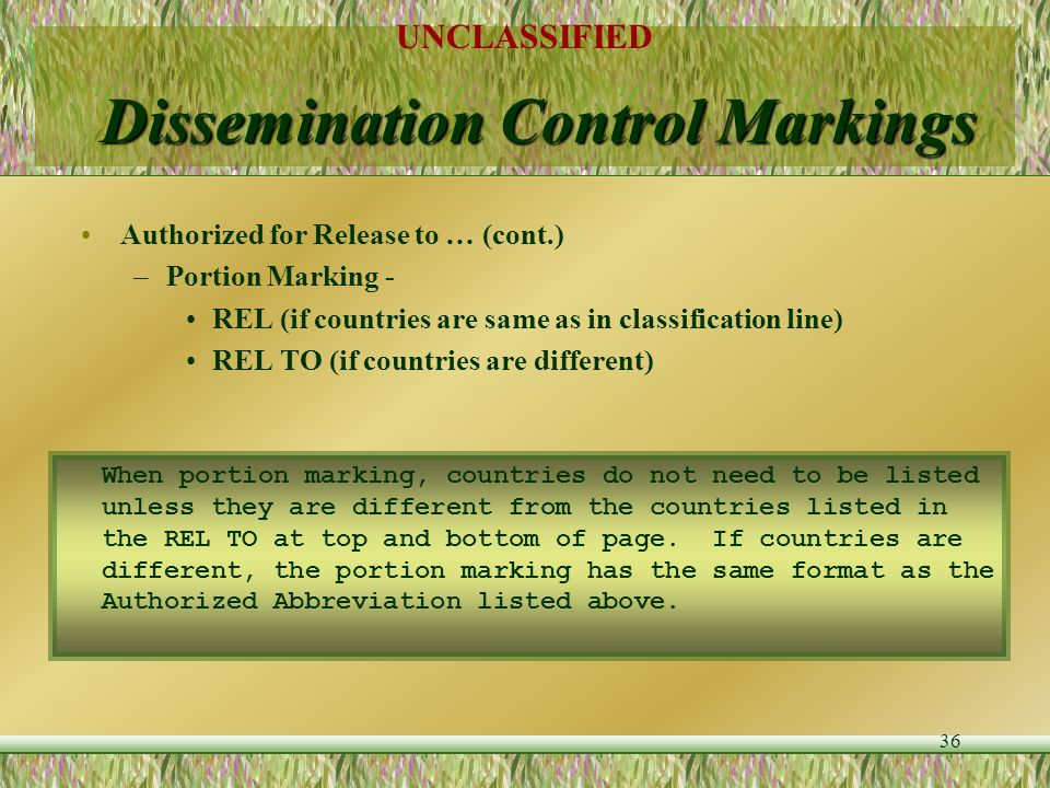 Dissemination Control Markings