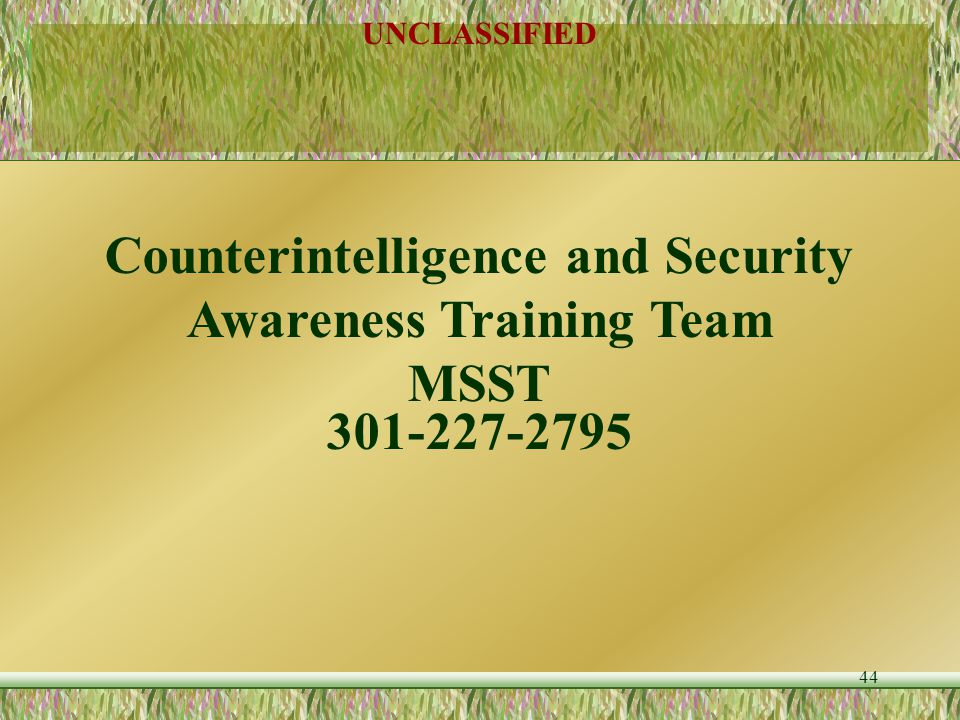 Counterintelligence and Security Awareness Training Team