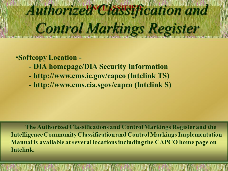 Authorized Classification and Control Markings Register