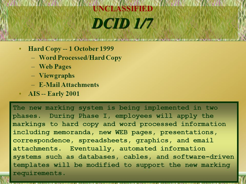 DCID 1/7 Hard Copy -- 1 October 1999 Word Processed/Hard Copy