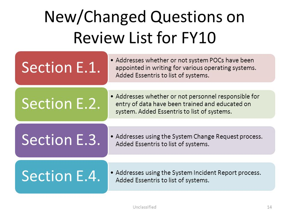 New/Changed Questions on Review List for FY10