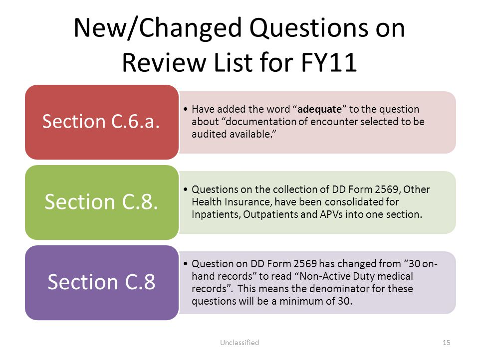 New/Changed Questions on Review List for FY11