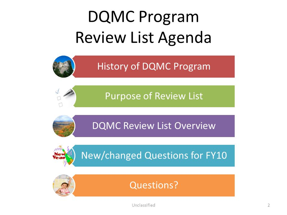 DQMC Program Review List Agenda